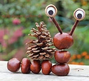 bricolage avec des marrons, l'escargot