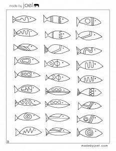 Des dessisn de poissons à colorier pour peupler l'aquarium en carton
