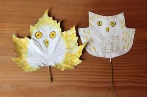 Occuper-les-enfants-en-automne-feuilles-mortes-et-creation-les-oiseaux-de-nuit