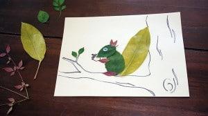 Occuper-les-enfants-en-automne-feuilles-mortes-un-ecureuil