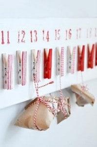 DIY, un calendrier de l'avant fait avec des pinces à linge